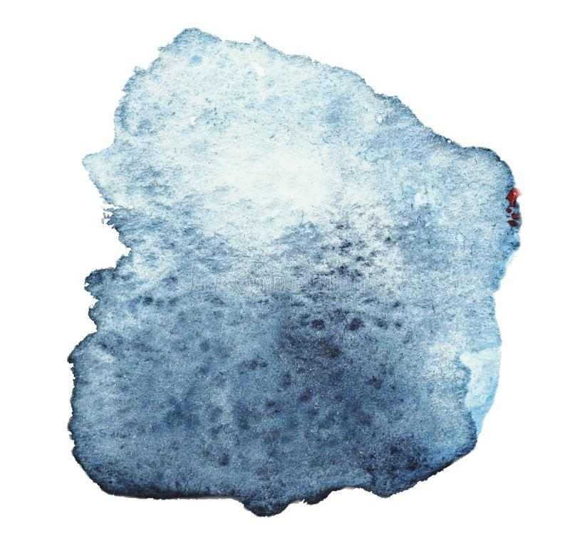 Mancha del color azul-gris con los filos, material de la acuarela, stock de ilustración