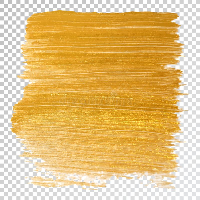 Mancha del movimiento de la mancha de la pintura del oro, movimiento del cepillo en el fondo blanco Textura que brilla del oro ab libre illustration