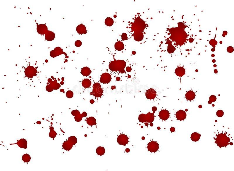 Mancha desarrumado do sangue, gotas vermelhas no fundo branco Ilustração do vetor, estilo do maníaco ilustração stock