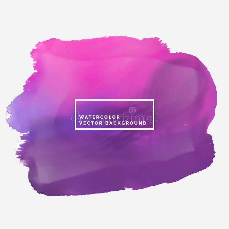 Mancha do curso da escova da cor de água na cor cor-de-rosa e roxa ilustração do vetor
