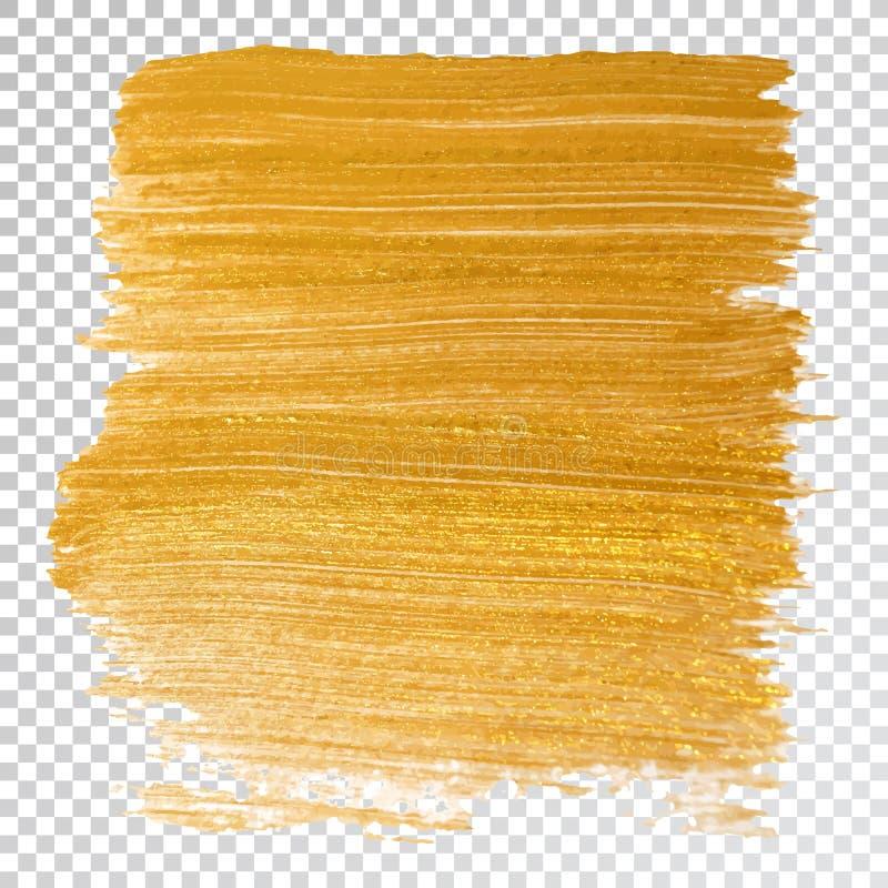 Mancha do curso da mancha da pintura do ouro, curso da escova no fundo branco Textura de brilho do ouro abstrato ilustração royalty free