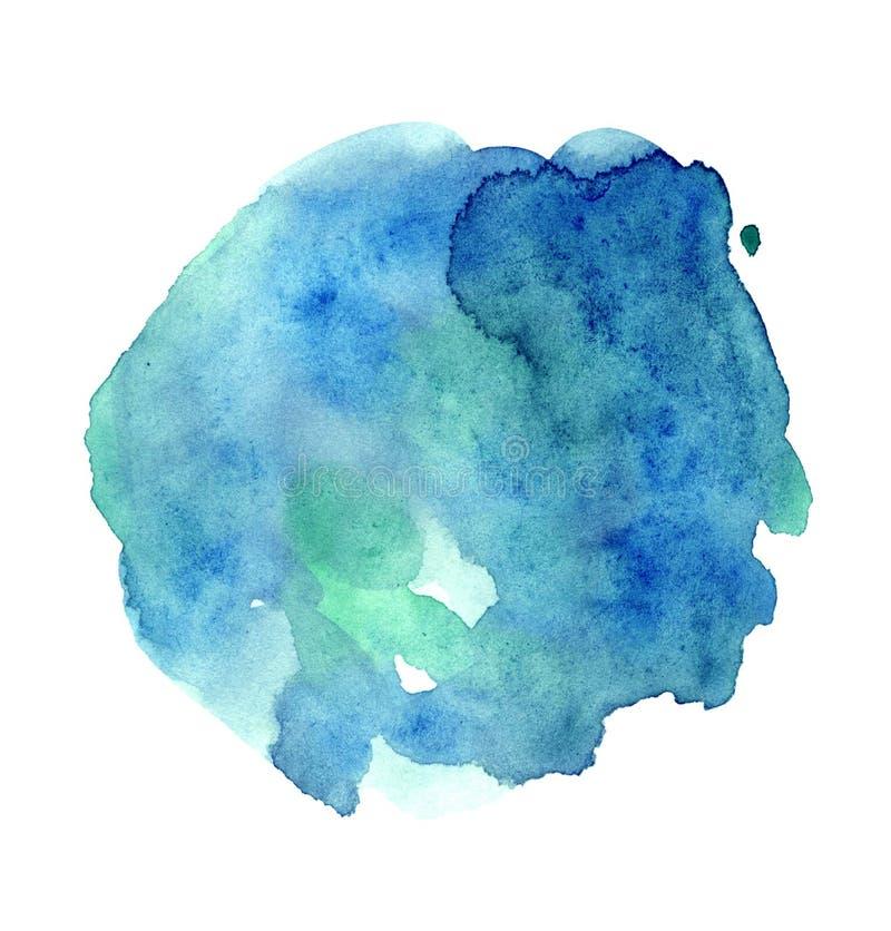 Mancha pintado à mão da aquarela azul brilhante, ilustração vibrante minimalistic ilustração do vetor