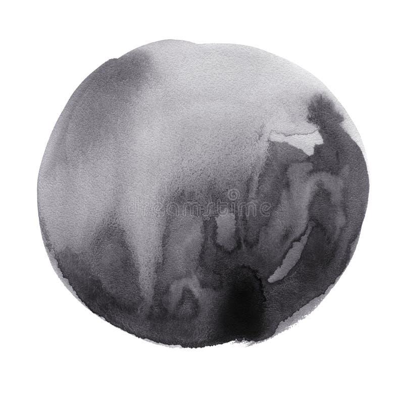 Mancha redonda del negro de la acuarela imagen de archivo libre de regalías