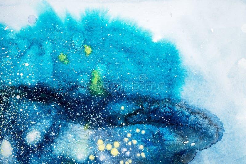 A mancha vermelha roxa do rosa azul brilhante da aquarela goteja gotas Ilustração abstrata ilustração stock