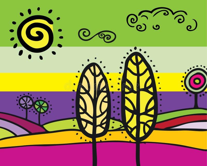 Mancha-vidro da paisagem ilustração stock