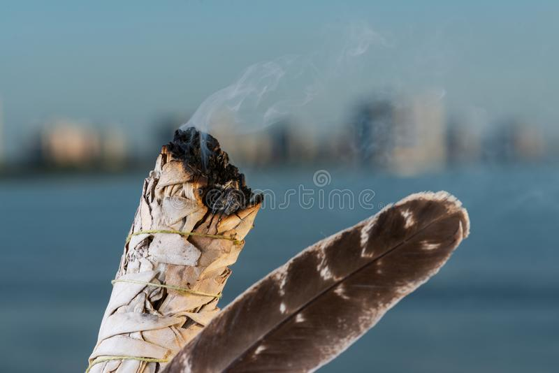 Manchando Ritual usando um pacote grosso de folhas de White Sage Grade A barrado Turquia bordando pena na praia no nascer do sol fotos de stock royalty free
