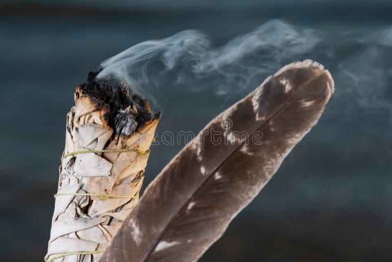 Manchando Ritual usando um pacote grosso de folhas de White Sage Grade A barrado Turquia bordando pena na praia no nascer do sol foto de stock