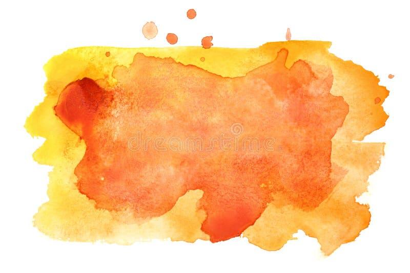 Manchas amarillo-naranja de la acuarela stock de ilustración