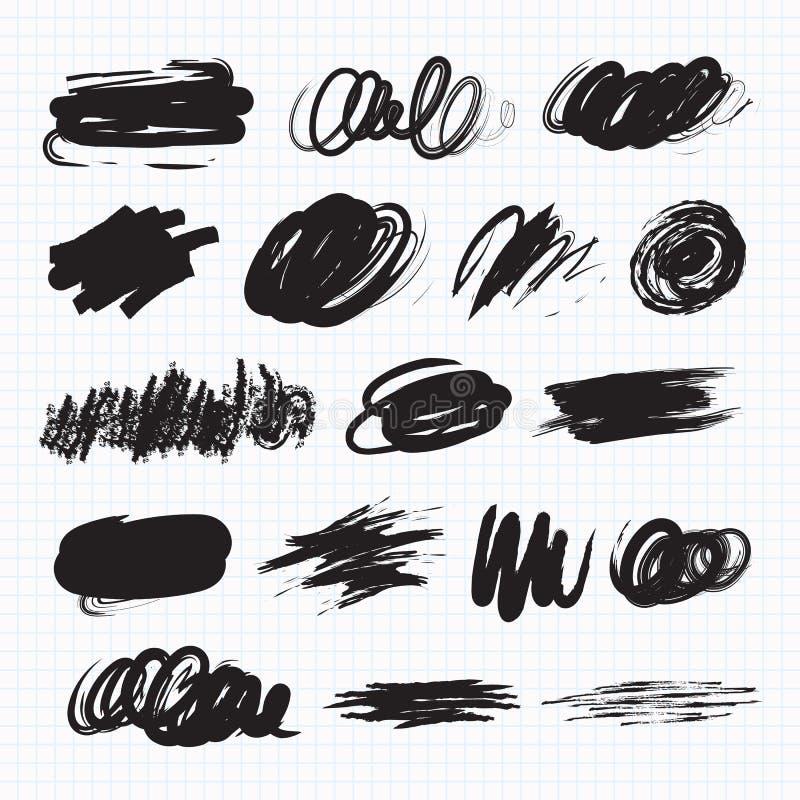Manchas blancas /negras de la oscuridad Manchas del garabato stock de ilustración