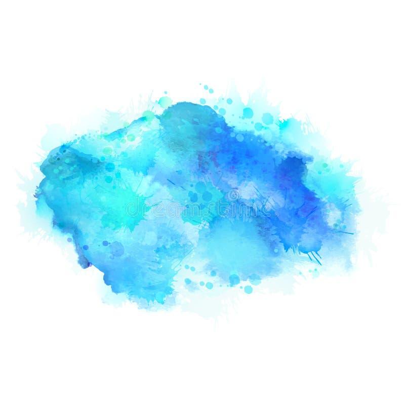 Manchas ciánicas y azules de la acuarela Elemento de color brillante para el fondo artístico abstracto stock de ilustración