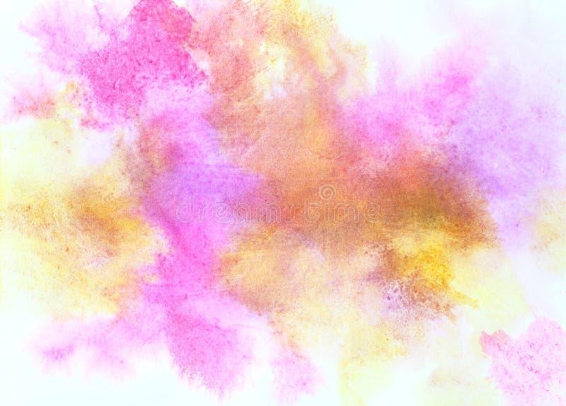 Manchas coloridas de la acuarela en el papel ilustración del vector