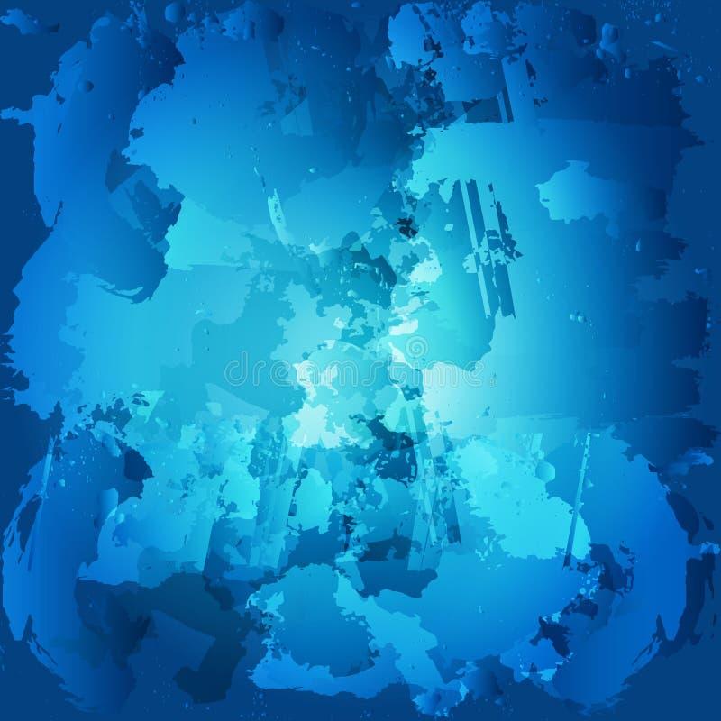 Manchas coloridas de la pintura de aceite Acuarela de la gota pintada Cepillo azul stock de ilustración