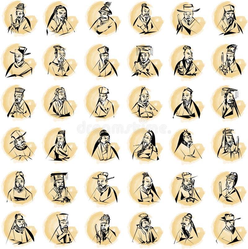 Manchas Con Las Figuras Chinas Fotos de archivo