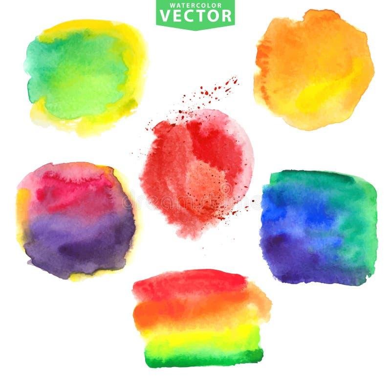 Manchas da aquarela Cores brilhantes vívidas ilustração do vetor