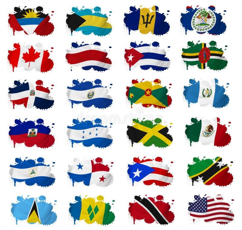 Manchas da bandeira de países de America do Norte ilustração do vetor