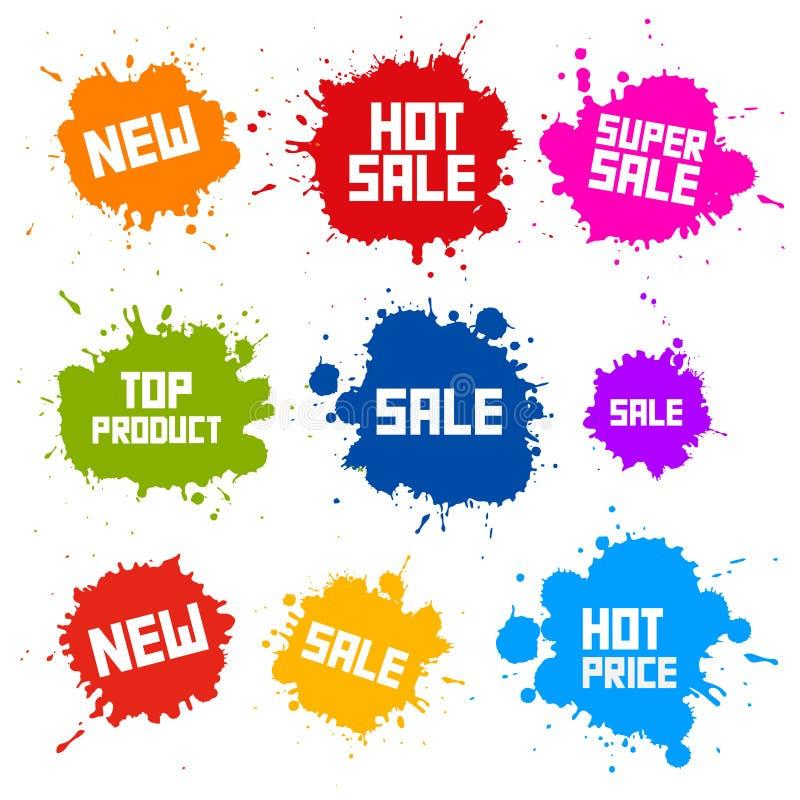 Manchas da venda - espirra etiquetas ilustração stock
