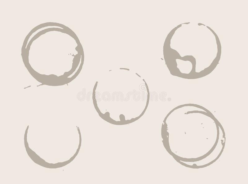 Manchas de óxido del café ilustración del vector