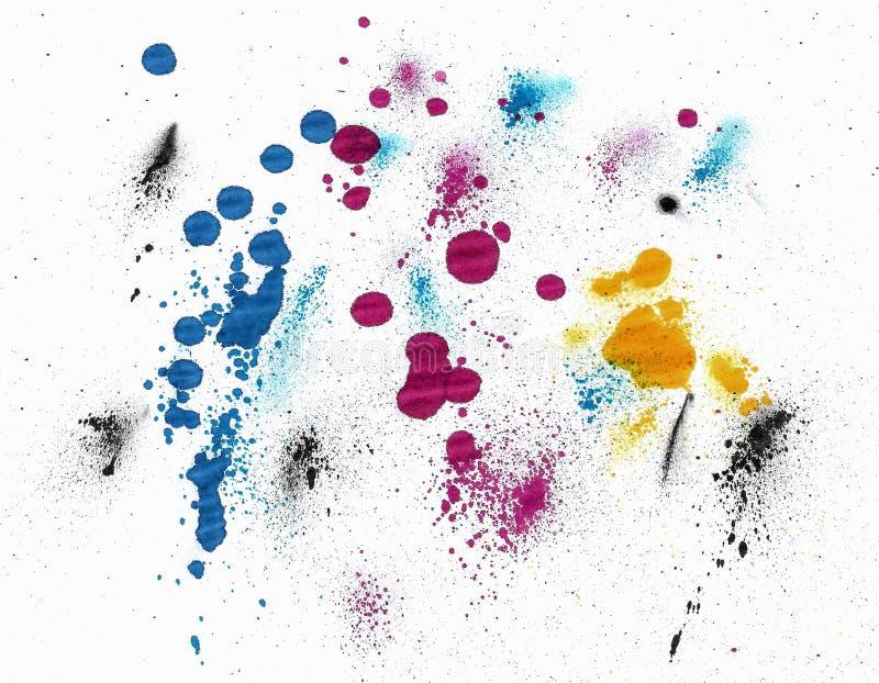 Manchas de cores CMYK em fundo branco imagens de stock