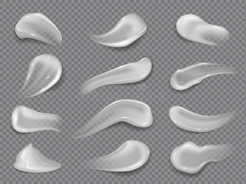 Manchas de la crema Descensos cosméticos blancos de la loción, gel cremoso del cuerpo, crema facial del cuidado de piel Sistema c stock de ilustración