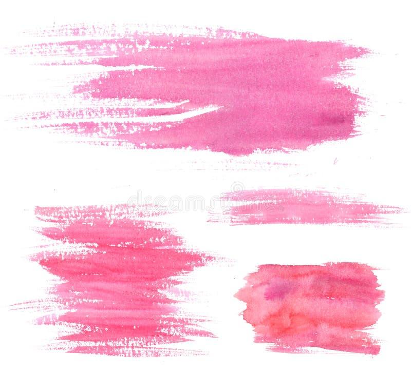 Manchas de la pintura de la acuarela Movimientos y manchas blancas /negras rosados Sistema de texturas artísticas fotografía de archivo