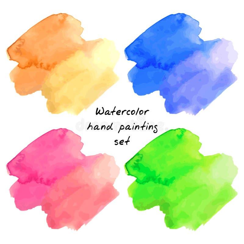 Manchas de la pintura de la mano de la acuarela stock de ilustración