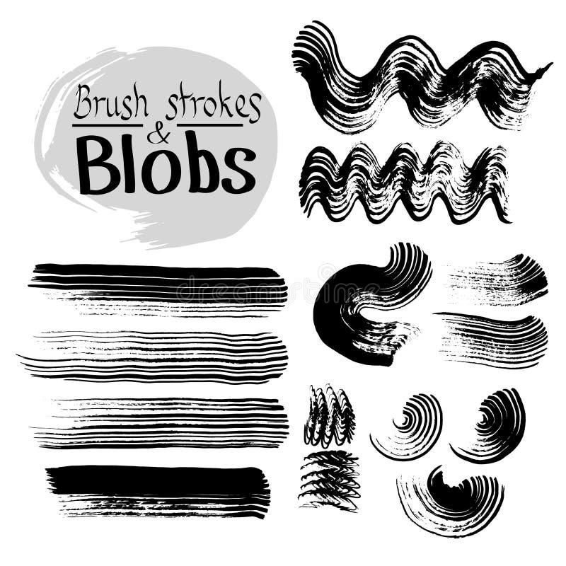 Manchas de tinta preta e cursos do vetor Grupo do vetor de cursos da escova do grunge ilustração stock