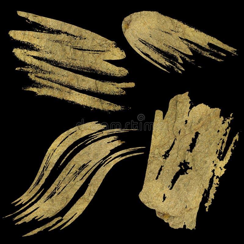 Manchas del amarillo en pinceladas negras o de oro imagen de archivo