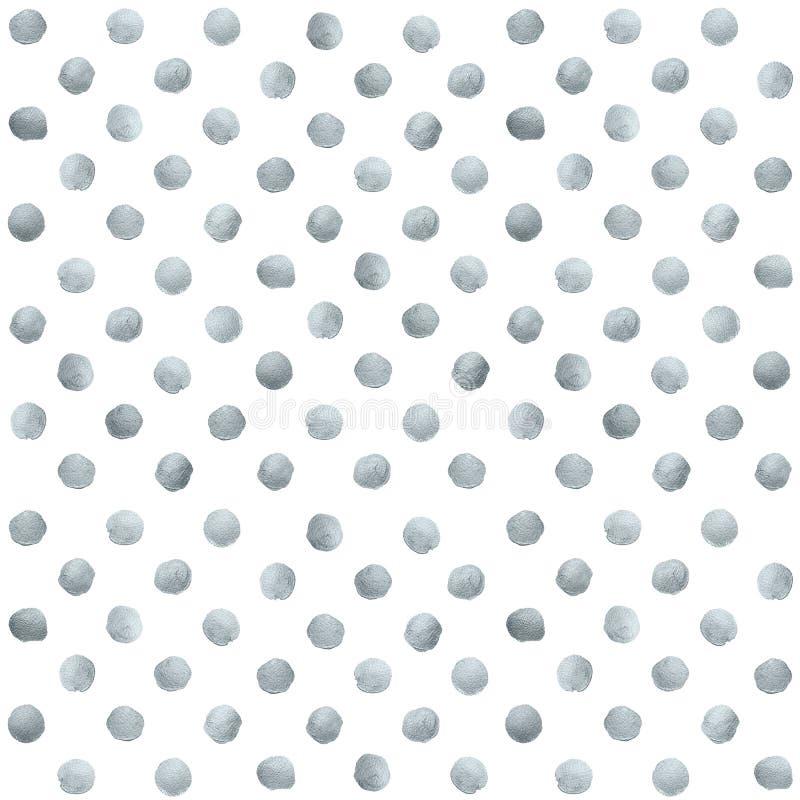 Manchas del círculo de la brocha del brillo o modelo de punto de plata de la textura de la mancha de la mancha del lenguado del s ilustración del vector