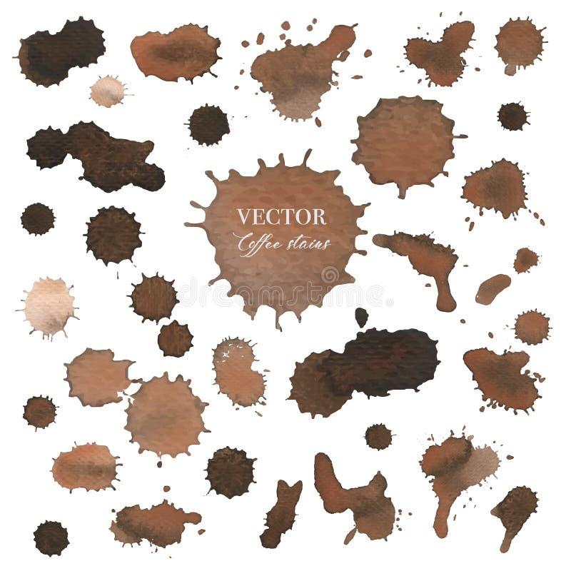 Manchas del café, textura del espray del chapoteo de Brown aisladas en el fondo blanco stock de ilustración