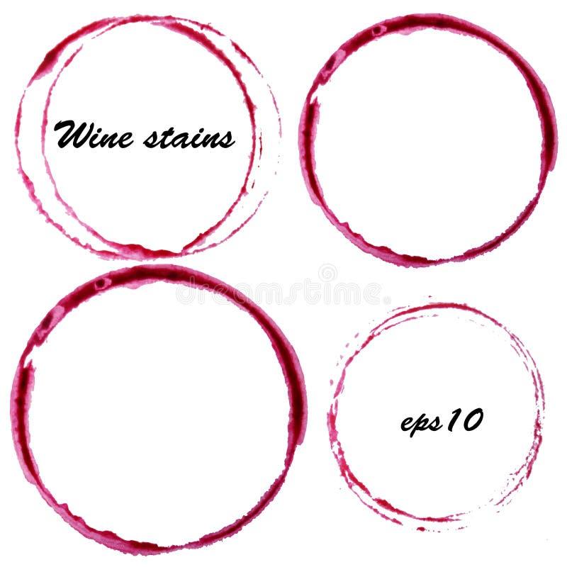 Manchas del vino de la acuarela La copa de vino circunda la marca aislada en el fondo blanco Elemento del diseño del menú ilustración del vector