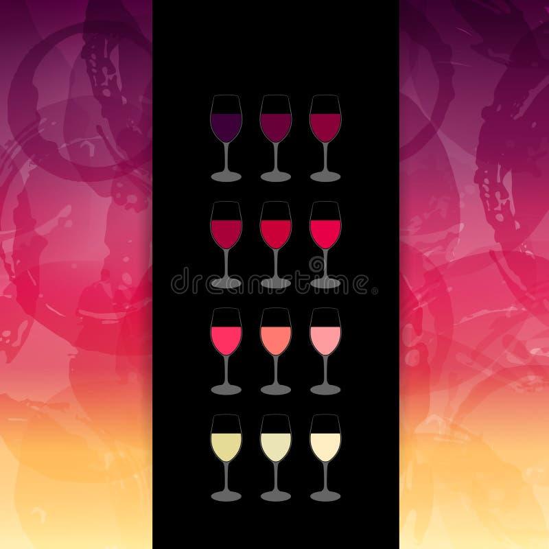 Manchas do fundo e cores do vinho Molde para a carta de vinhos ou ilustração do vetor