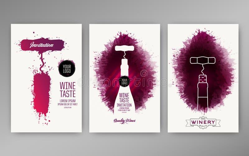 Manchas do vinho do fundo dos moldes do projeto ilustração stock
