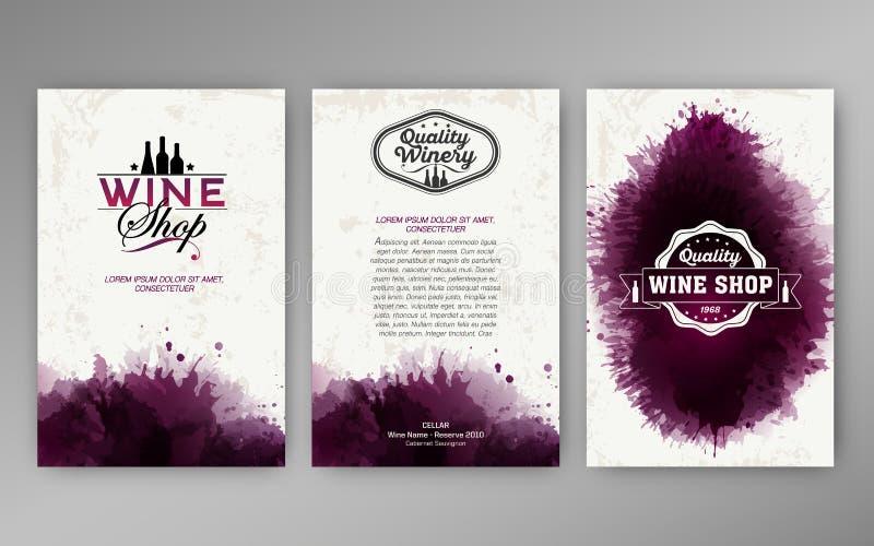 Manchas do vinho do fundo dos moldes do projeto ilustração do vetor