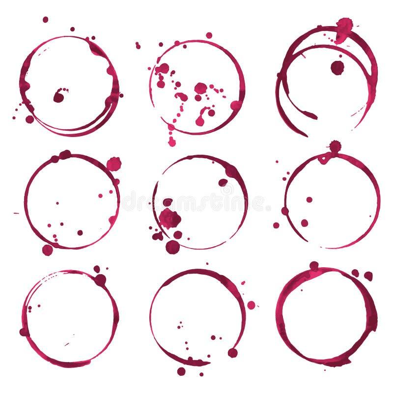 Manchas do vinho tinto O vinho dos traços espirra o grupo Vetor ilustração royalty free
