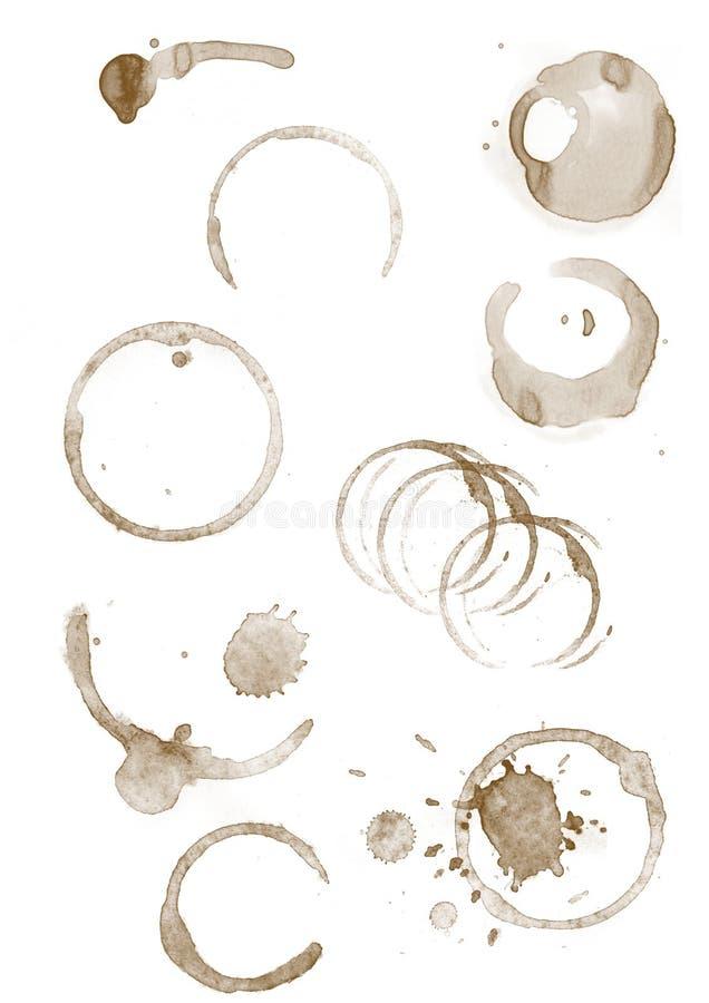 Manchas dos anéis de café no Livro Branco imagens de stock royalty free