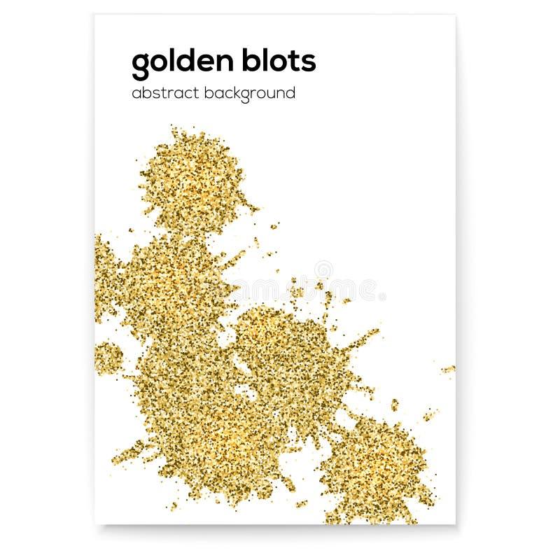 Manchas douradas com efeito do brilho Tampa criativa com texturas feitos à mão Arte abstrata do vetor no fundo branco Bom ilustração royalty free