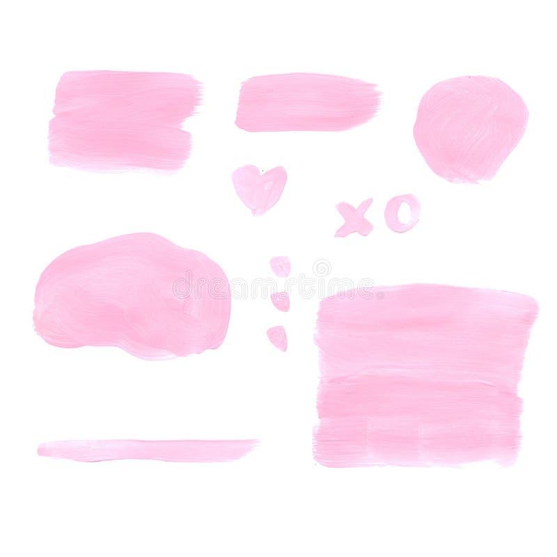 Manchas e cursos cor-de-rosa tirados mão Elementos para a colagem na moda ilustração royalty free