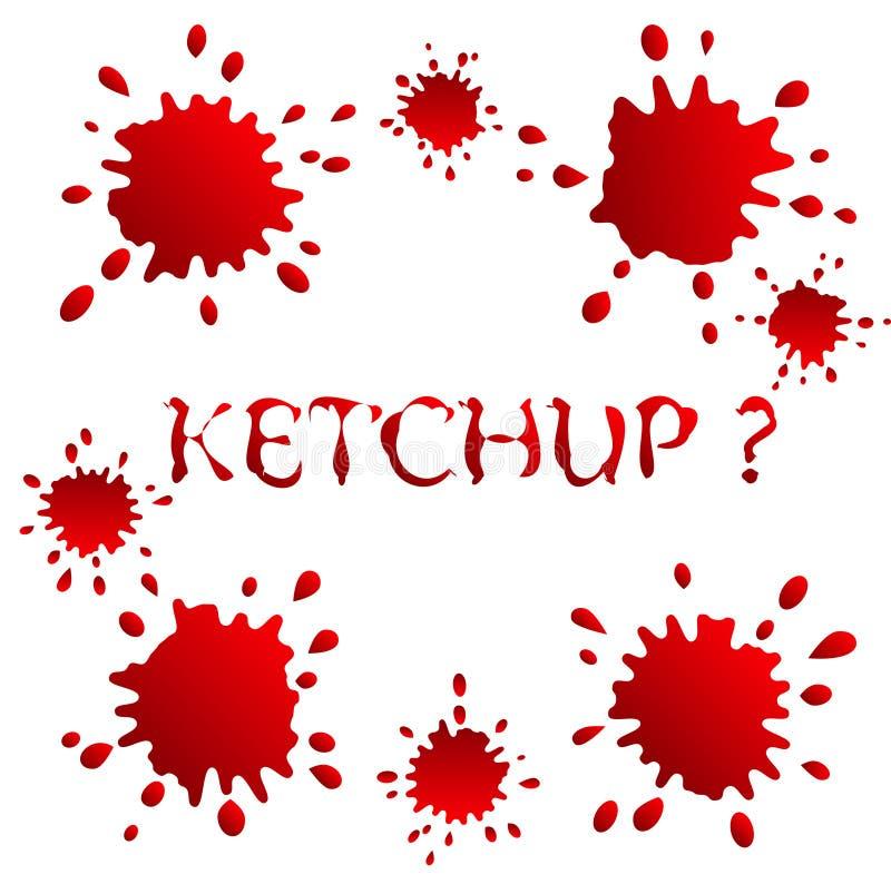 Manchas e ketchup ou sangue dos pontos ilustração stock