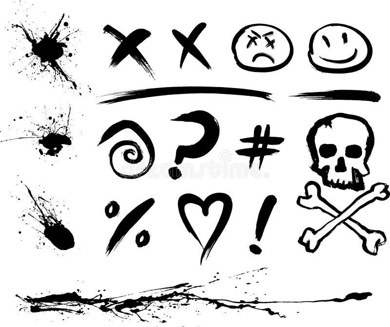 Manchas e símbolos da tinta ilustração do vetor