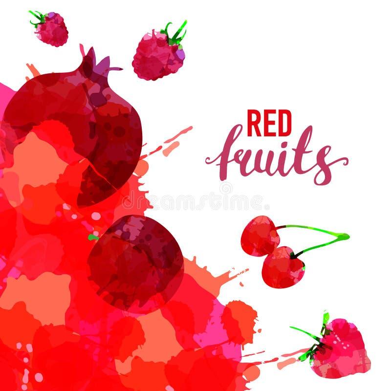 Manchas e manchas tiradas da aquarela do fruto grupo vermelho com uma morango do pulverizador, framboesa, rom?, cereja, vermelho  fotografia de stock royalty free