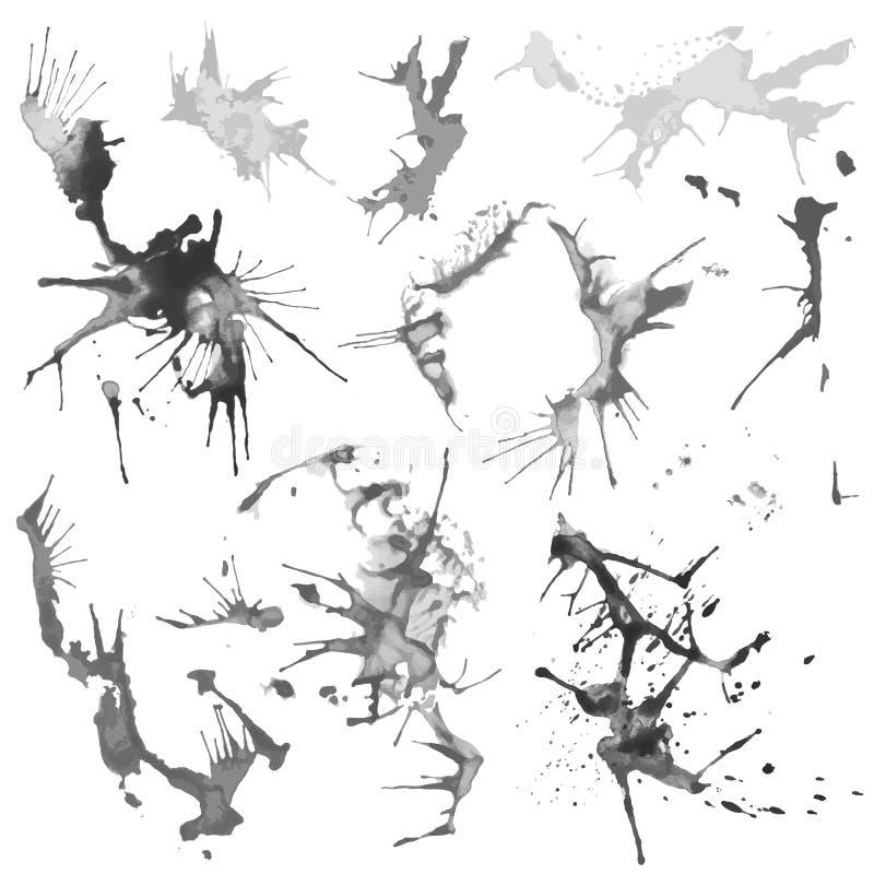 Manchas preto e branco do respingo da cor de água ilustração stock