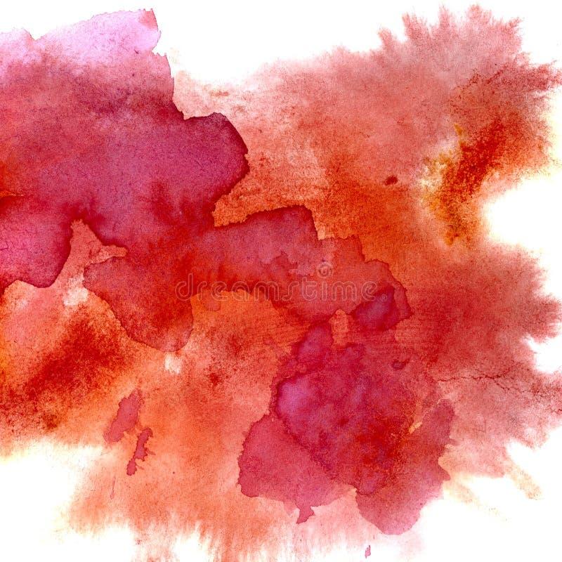 Manchas rojas de la acuarela stock de ilustración