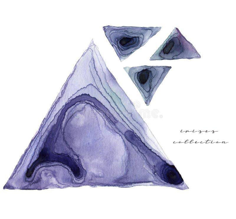 Manchas tiradas da arte da aquarela m?o abstrata isoladas no fundo branco Bandeira quadrada de turquesa ilustração stock
