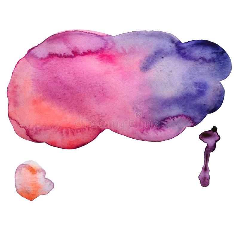 manchas tiradas mão do rosa de 3 aquarelas, as alaranjadas e as violetas com textura do papel ilustração do vetor