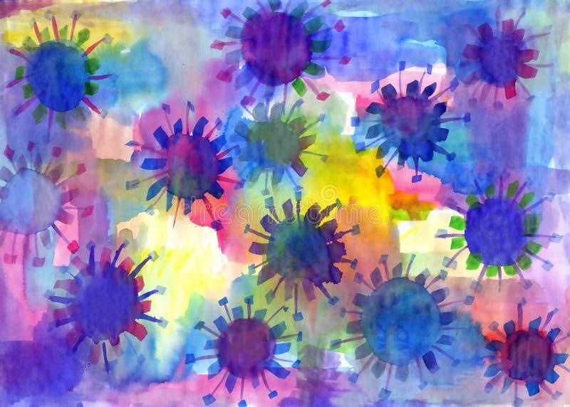 Manchas vívidas abstratas Pintura da aguarela ilustração stock