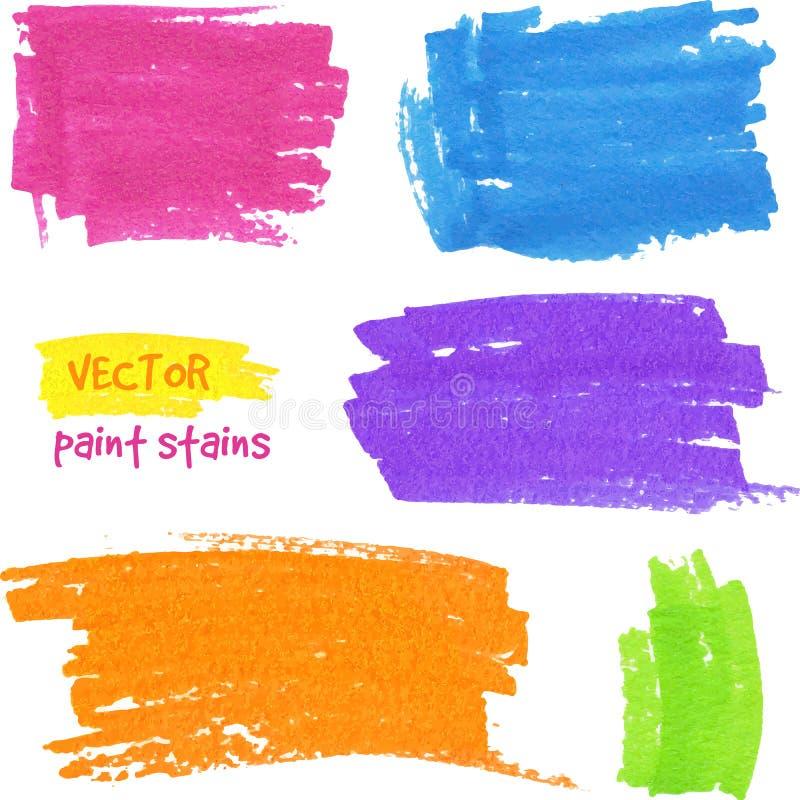 Manchas vibrantes de la pluma del fieltro del vector de los colores ilustración del vector