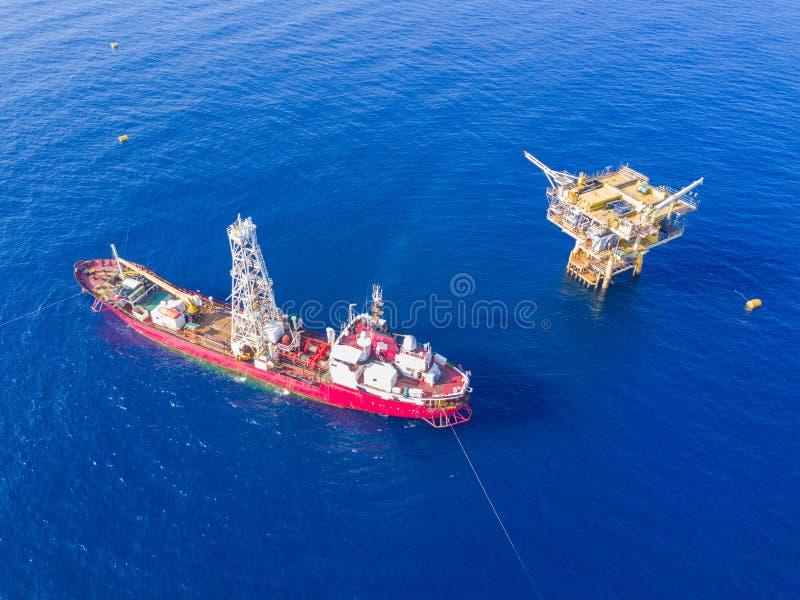 Manche el barco aburrido una perforación geotécnica cum la encuesta análoga VE foto de archivo