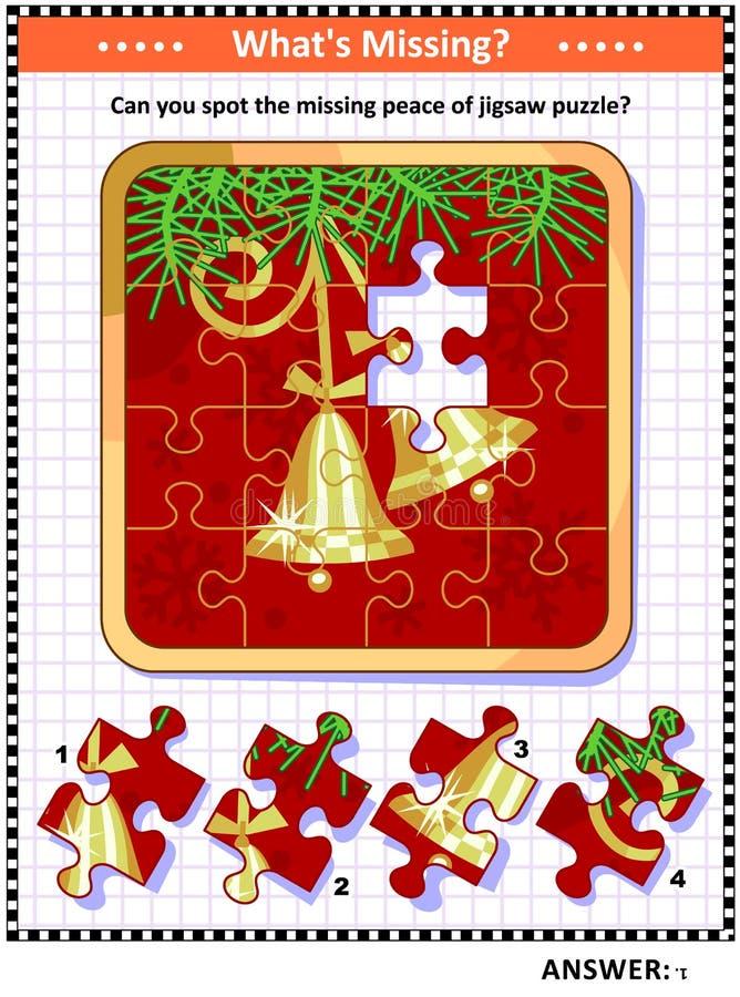 Manche el juego que falta del pedazo con las campanas en imagen de la rama de árbol de navidad libre illustration