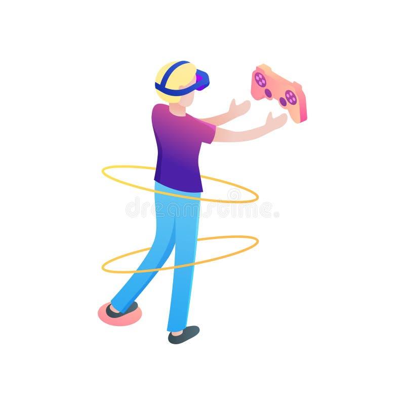 Manche novo do jogo da tomada do menino na realidade virtual ilustração do vetor