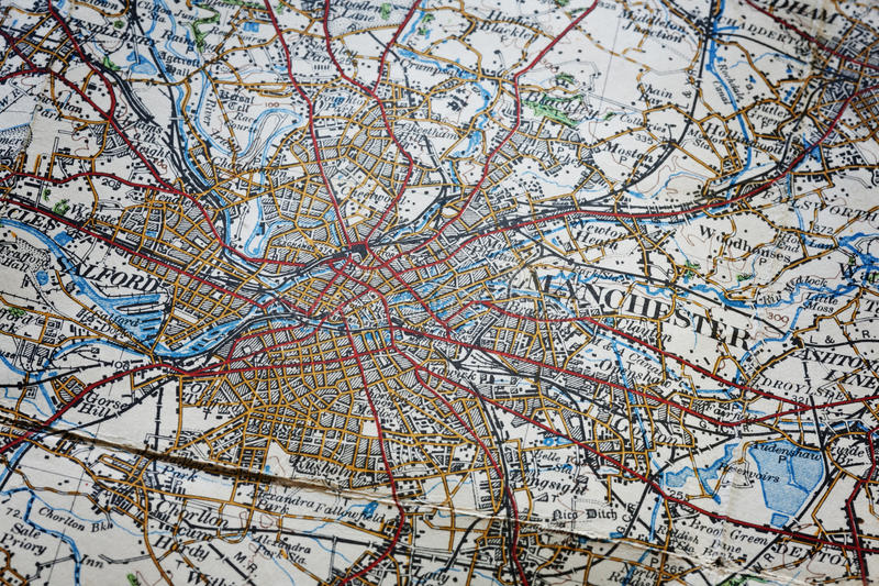Manchester Area Old Map Royalty Free Stock Images